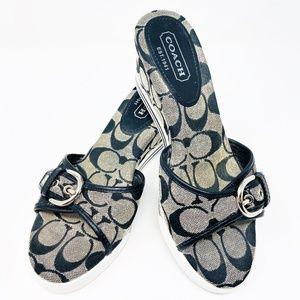 Coach Wedge Platform Sandals Shoes Black Gray